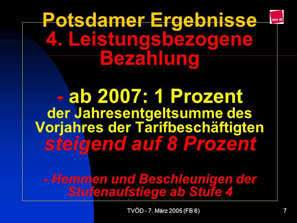 TVÖD - 7.März 2005 (FB 6)7 Potsdamer Ergebnisse 4.
