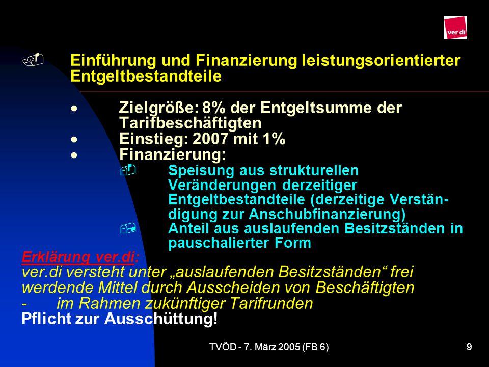 TVÖD - 7.März 2005 (FB 6)30 Offene Fragen zur Eingruppierung  Heraushebungen z.B.