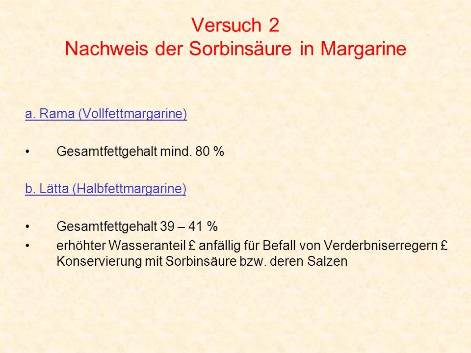 Versuch 2 Nachweis der Sorbinsäure in Margarine a. Rama (Vollfettmargarine) Gesamtfettgehalt mind. 80 % b. Lätta (Halbfettmargarine) Gesamtfettgehalt