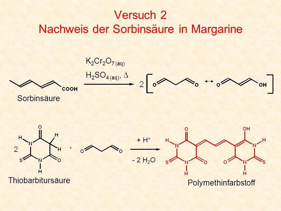 Versuch 2 Nachweis der Sorbinsäure in Margarine Polymethinfarbstoff K 2 Cr 2 O 7 (aq) H 2 SO 4 (aq), ∆ Sorbinsäure Thiobarbitursäure + H + - 2 H 2 O