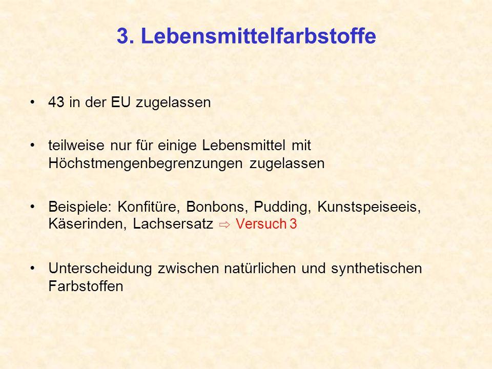 3. Lebensmittelfarbstoffe 43 in der EU zugelassen teilweise nur für einige Lebensmittel mit Höchstmengenbegrenzungen zugelassen Beispiele: Konfitüre,
