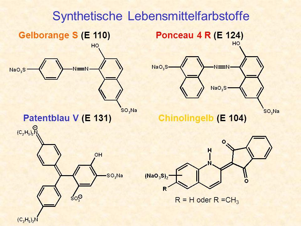 Synthetische Lebensmittelfarbstoffe Gelborange S (E 110) Chinolingelb (E 104)Patentblau V (E 131) Ponceau 4 R (E 124) R = H oder R =CH 3