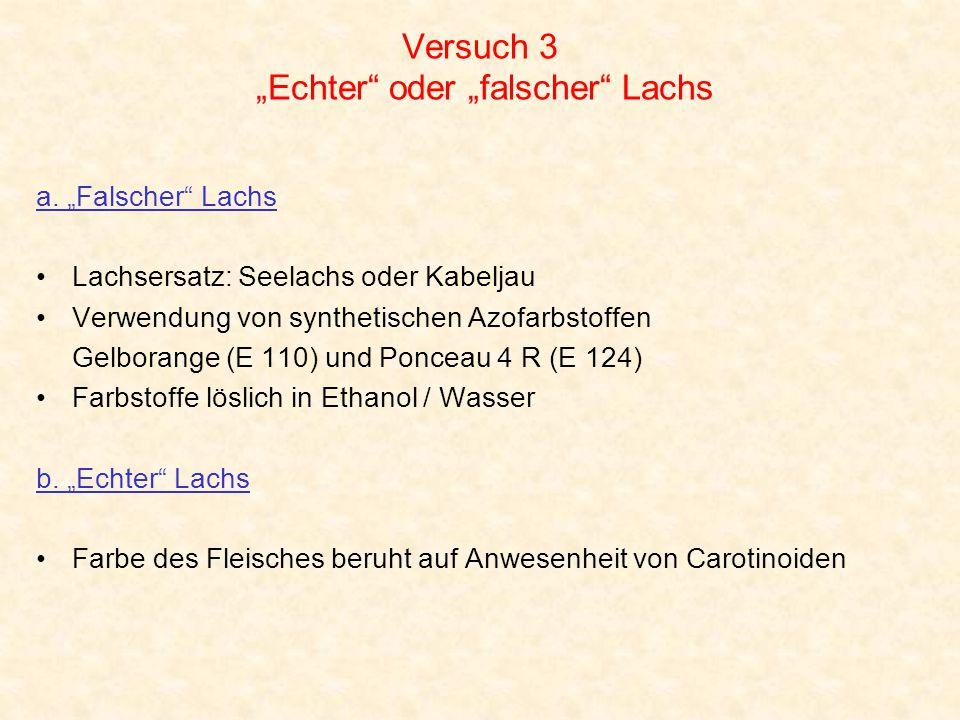 """Versuch 3 """"Echter"""" oder """"falscher"""" Lachs a. """"Falscher"""" Lachs Lachsersatz: Seelachs oder Kabeljau Verwendung von synthetischen Azofarbstoffen Gelborang"""