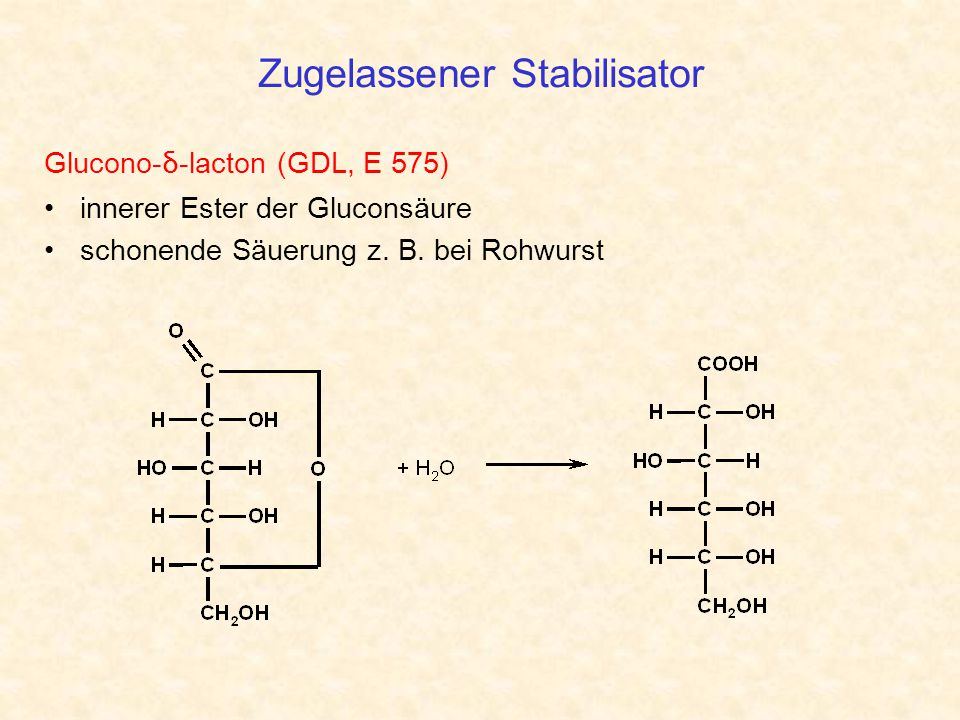 Zugelassener Stabilisator Glucono- δ -lacton (GDL, E 575) innerer Ester der Gluconsäure schonende Säuerung z. B. bei Rohwurst