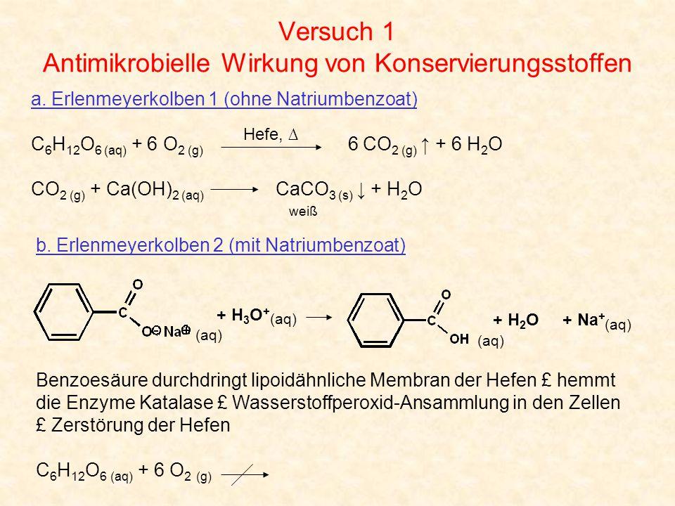 Versuch 1 Antimikrobielle Wirkung von Konservierungsstoffen a. Erlenmeyerkolben 1 (ohne Natriumbenzoat) C 6 H 12 O 6 (aq) + 6 O 2 (g) 6 CO 2 (g) ↑ + 6