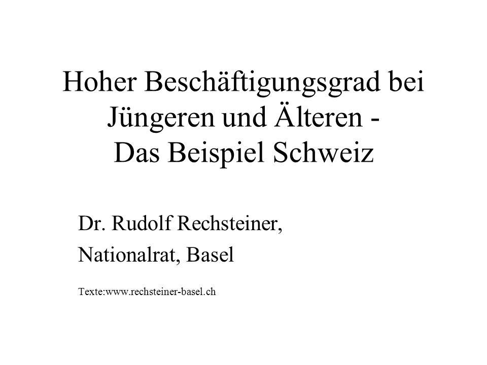 Hoher Beschäftigungsgrad bei Jüngeren und Älteren - Das Beispiel Schweiz Dr. Rudolf Rechsteiner, Nationalrat, Basel Texte:www.rechsteiner-basel.ch
