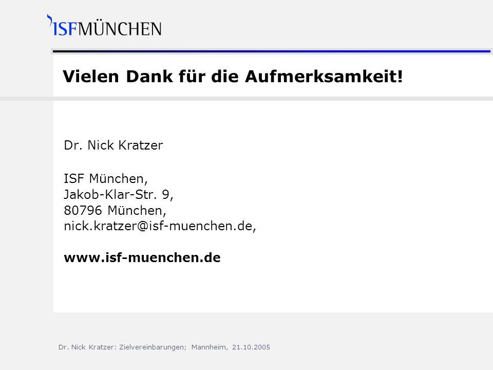Dr.Nick Kratzer: Zielvereinbarungen; Mannheim, 21.10.2005 Vielen Dank für die Aufmerksamkeit.