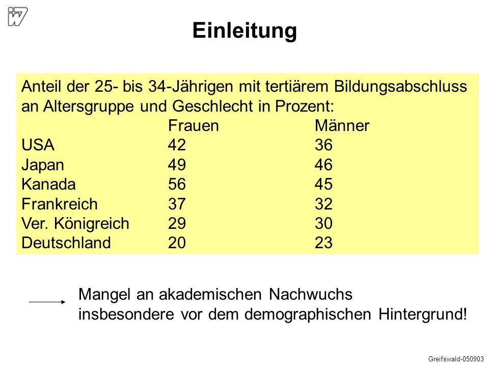 Einleitung Anteil der 25- bis 34-Jährigen mit tertiärem Bildungsabschluss an Altersgruppe und Geschlecht in Prozent: FrauenMänner USA4236 Japan4946 Ka