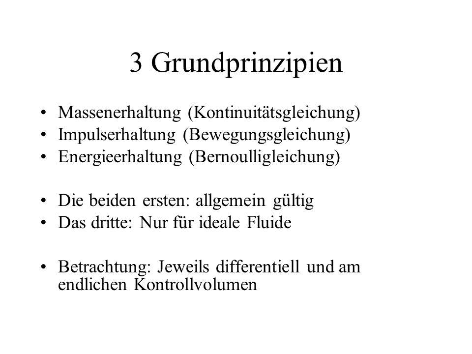 3 Grundprinzipien Massenerhaltung (Kontinuitätsgleichung) Impulserhaltung (Bewegungsgleichung) Energieerhaltung (Bernoulligleichung) Die beiden ersten