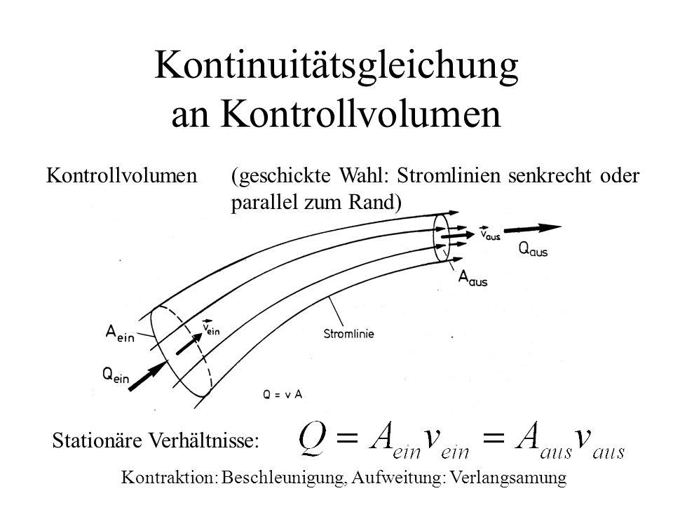 Kontinuitätsgleichung an Kontrollvolumen Stationäre Verhältnisse: Kontrollvolumen(geschickte Wahl: Stromlinien senkrecht oder parallel zum Rand) Kontr
