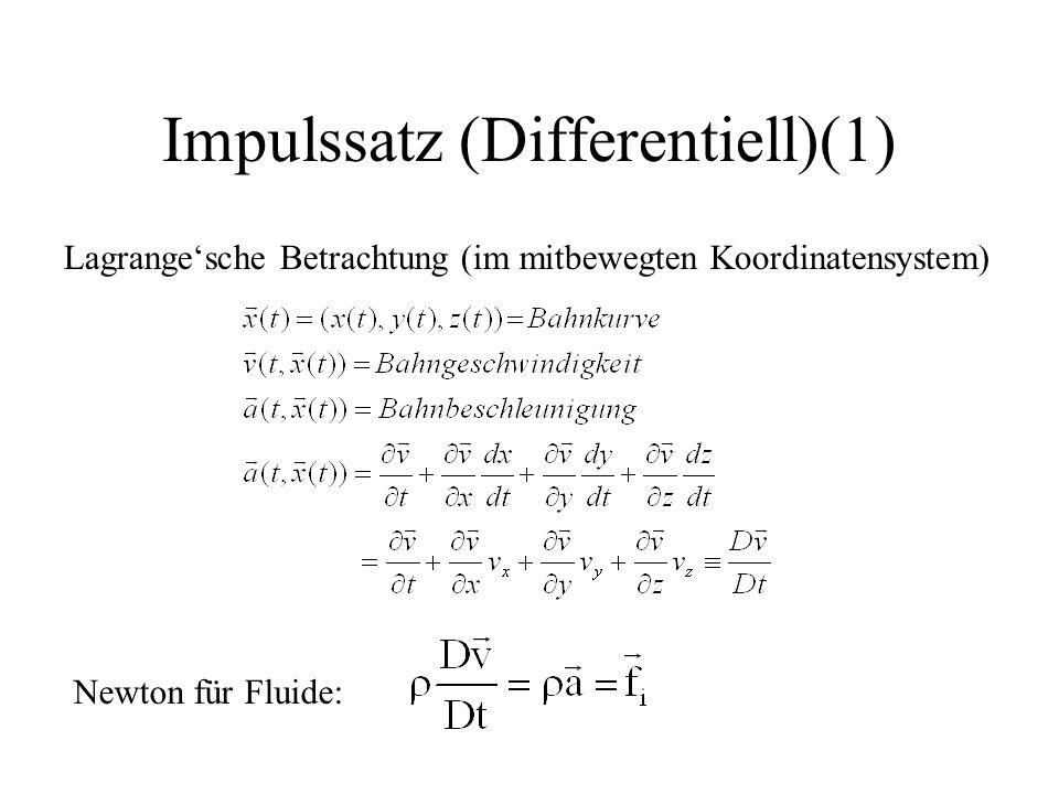 Impulssatz (Differentiell)(1) Lagrange'sche Betrachtung (im mitbewegten Koordinatensystem) Newton für Fluide: