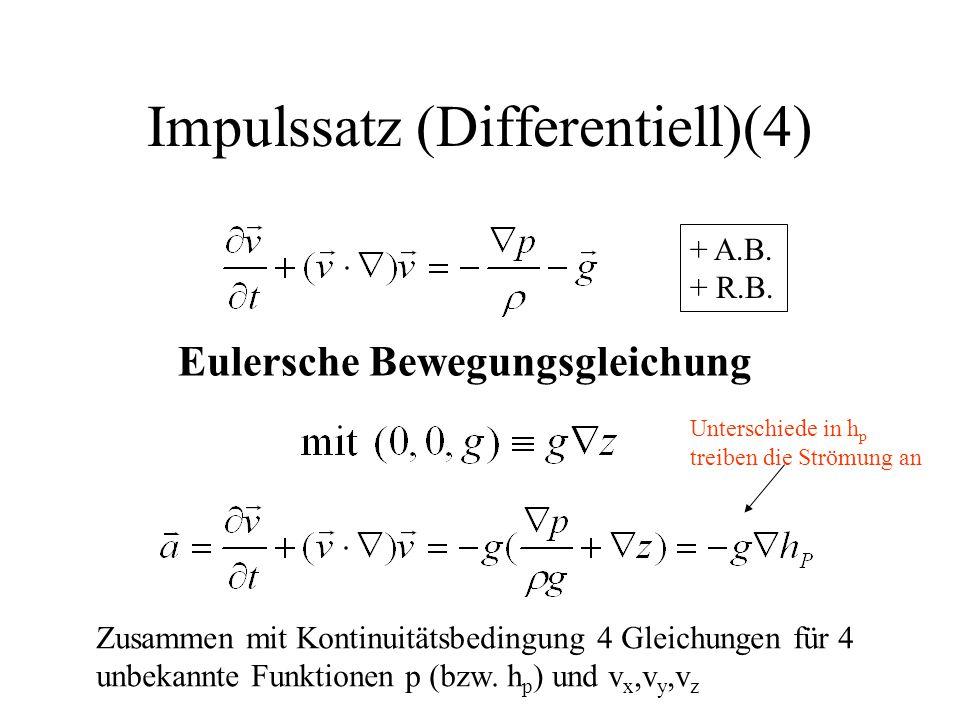 Impulssatz (Differentiell)(4) Eulersche Bewegungsgleichung Zusammen mit Kontinuitätsbedingung 4 Gleichungen für 4 unbekannte Funktionen p (bzw. h p )