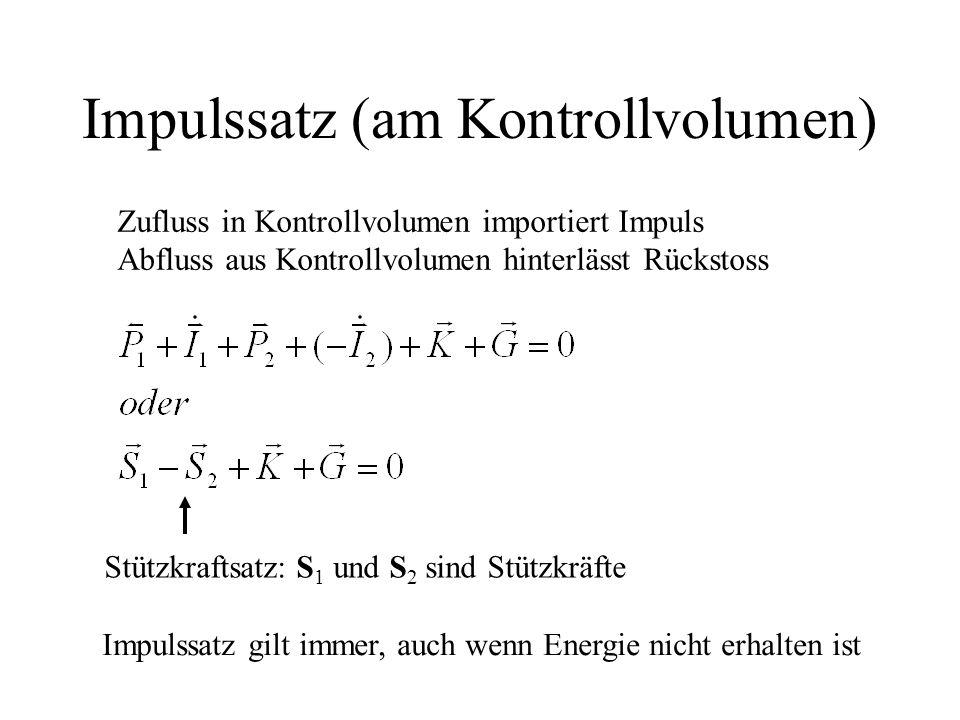 Impulssatz (am Kontrollvolumen) Stützkraftsatz: S 1 und S 2 sind Stützkräfte Zufluss in Kontrollvolumen importiert Impuls Abfluss aus Kontrollvolumen