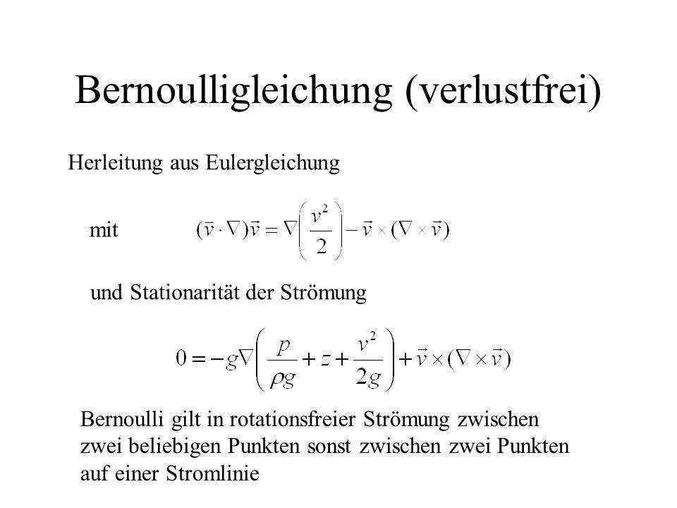 Bernoulligleichung (verlustfrei) Herleitung aus Eulergleichung mit und Stationarität der Strömung Bernoulli gilt in rotationsfreier Strömung zwischen