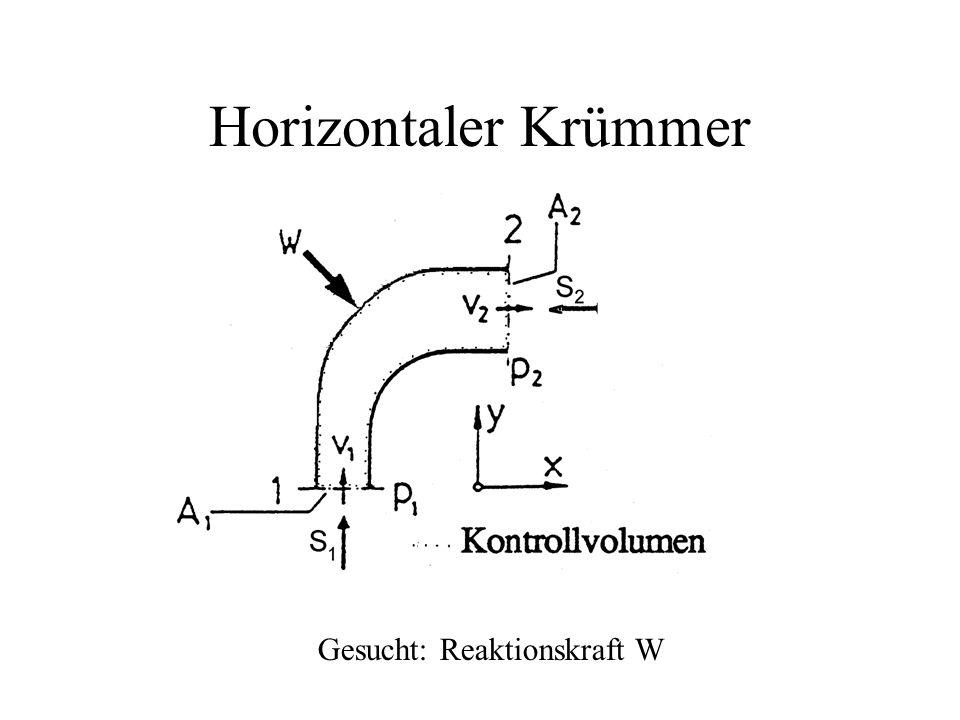 Horizontaler Krümmer Gesucht: Reaktionskraft W