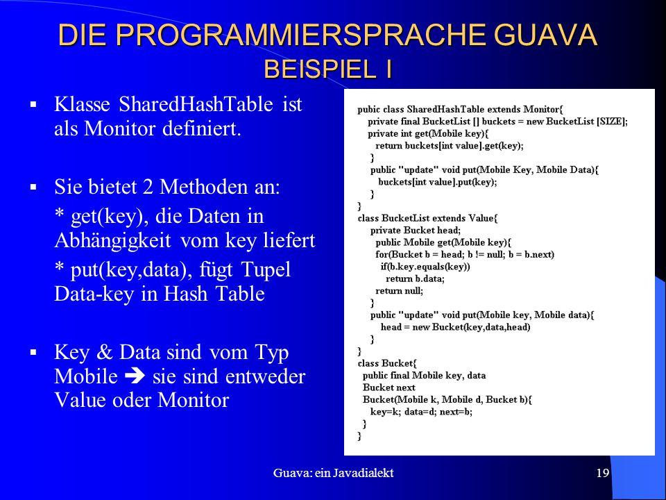 Guava: ein Javadialekt19 DIE PROGRAMMIERSPRACHE GUAVA BEISPIEL I  Klasse SharedHashTable ist als Monitor definiert.
