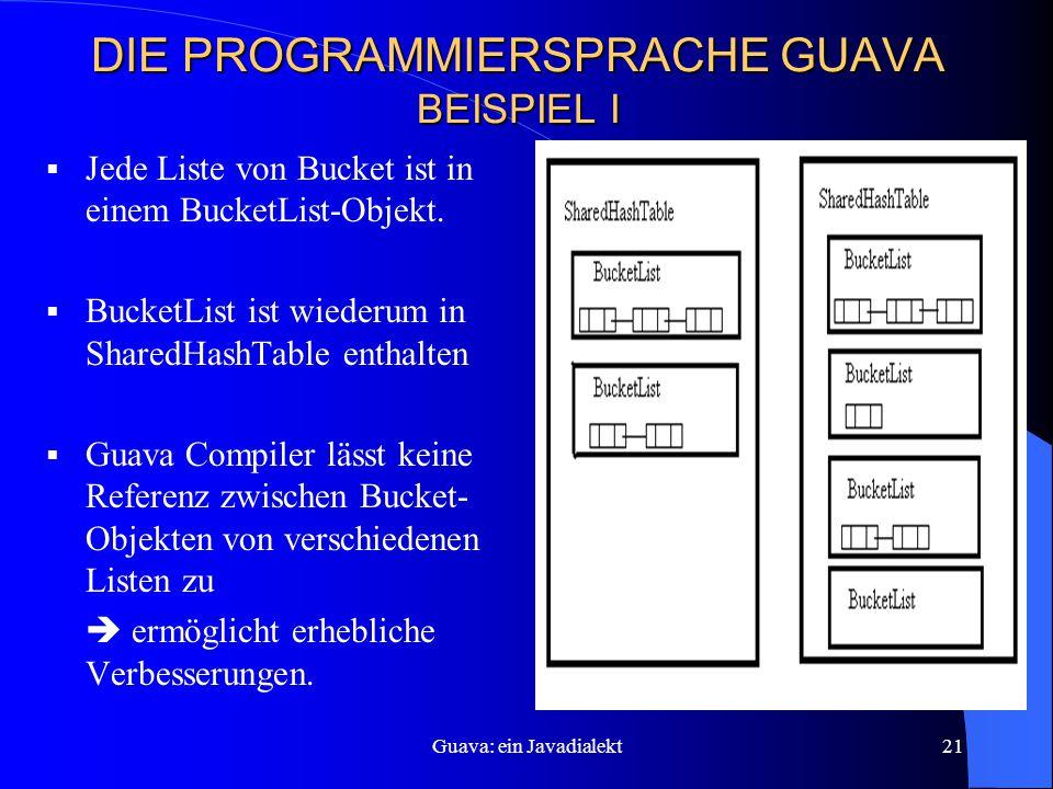 Guava: ein Javadialekt21 DIE PROGRAMMIERSPRACHE GUAVA BEISPIEL I  Jede Liste von Bucket ist in einem BucketList-Objekt.