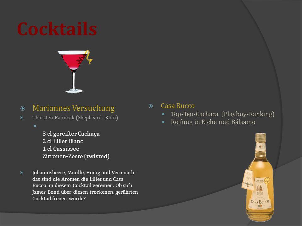 Cocktails  Mariannes Versuchung  Thorsten Panneck (Shepheard, Köln) 3 cl gereifter Cachaça 2 cl Lillet Blanc 1 cl Cassissee Zitronen-Zeste (twisted)