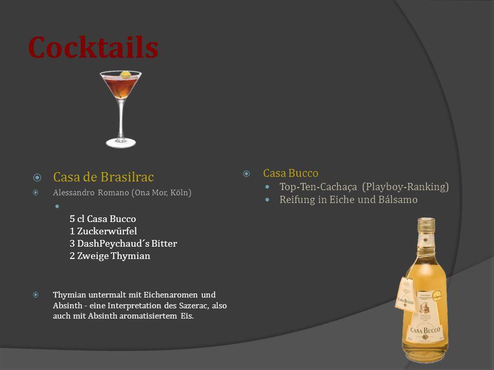 Cocktails  Casa de Brasilrac  Alessandro Romano (Ona Mor, Köln) 5 cl Casa Bucco 1 Zuckerwürfel 3 DashPeychaud´s Bitter 2 Zweige Thymian  Thymian un