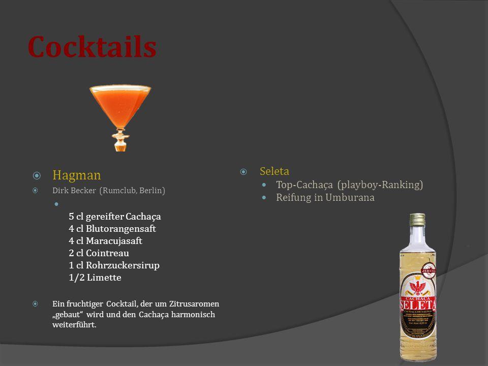 Cocktails  Hagman  Dirk Becker (Rumclub, Berlin) 5 cl gereifter Cachaça 4 cl Blutorangensaft 4 cl Maracujasaft 2 cl Cointreau 1 cl Rohrzuckersirup 1
