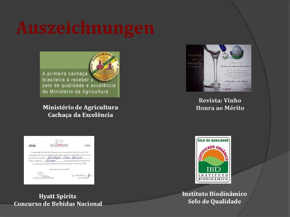 Auszeichnungen Revista: Vinho Honra ao Mérito Hyatt Spirits Concurso de Bebidas Nacional Instituto Biodinâmico Selo de Qualidade Ministério de Agricul