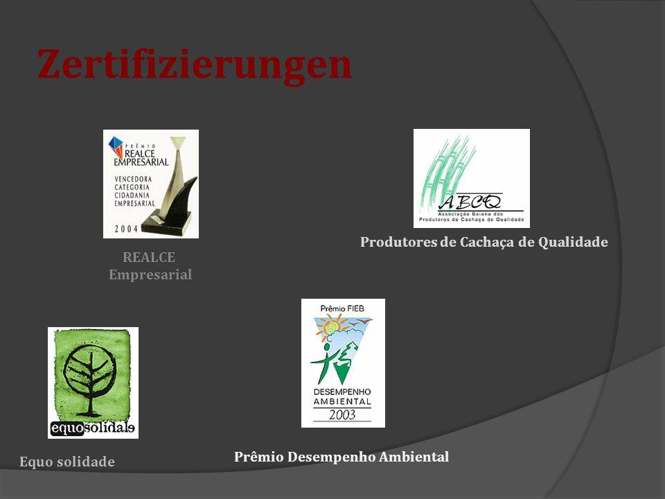 Zertifizierungen REALCE Empresarial Produtores de Cachaça de Qualidade Equo solidade Prêmio Desempenho Ambiental