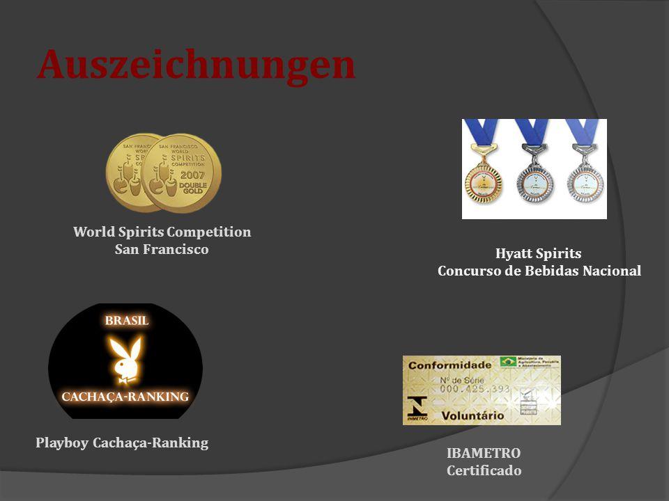 Auszeichnungen World Spirits Competition San Francisco IBAMETRO Certificado Playboy Cachaça-Ranking Hyatt Spirits Concurso de Bebidas Nacional