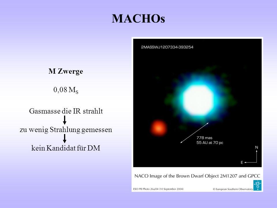 MACHOs M Zwerge 0,08 M S Gasmasse die IR strahlt zu wenig Strahlung gemessen kein Kandidat für DM