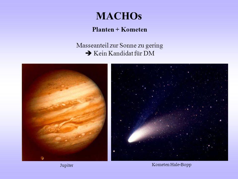 MACHOs Planten + Kometen Masseanteil zur Sonne zu gering  Kein Kandidat für DM Jupiter Kometen Hale-Bopp