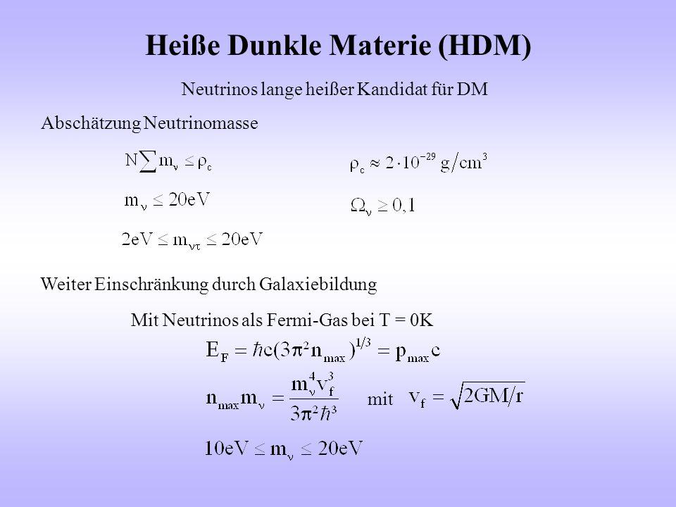 Heiße Dunkle Materie (HDM) Neutrinos lange heißer Kandidat für DM Abschätzung Neutrinomasse Weiter Einschränkung durch Galaxiebildung Mit Neutrinos al