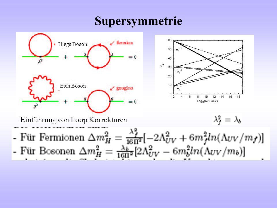 Supersymmetrie Higgs Boson Eich Boson Einführung von Loop Korrekturen