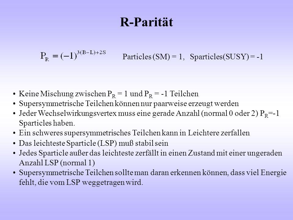 R-Parität Particles (SM) = 1,Sparticles(SUSY) = -1 Keine Mischung zwischen P R = 1 und P R = -1 Teilchen Supersymmetrische Teilchen können nur paarwei