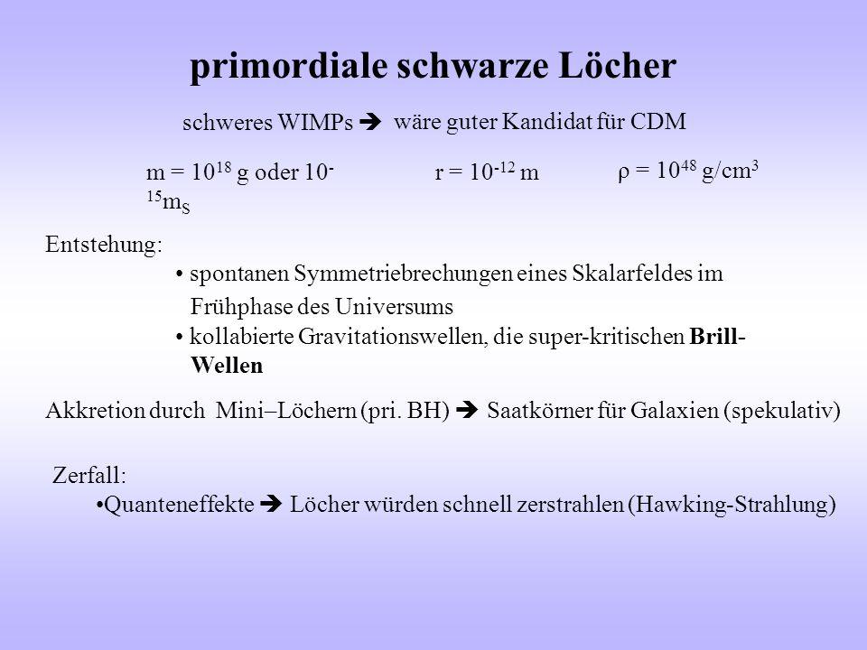 primordiale schwarze Löcher wäre guter Kandidat für CDM schweres WIMPs  m = 10 18 g oder 10 - 15 m S r = 10 -12 m ρ = 10 48 g/cm 3 Entstehung: sponta