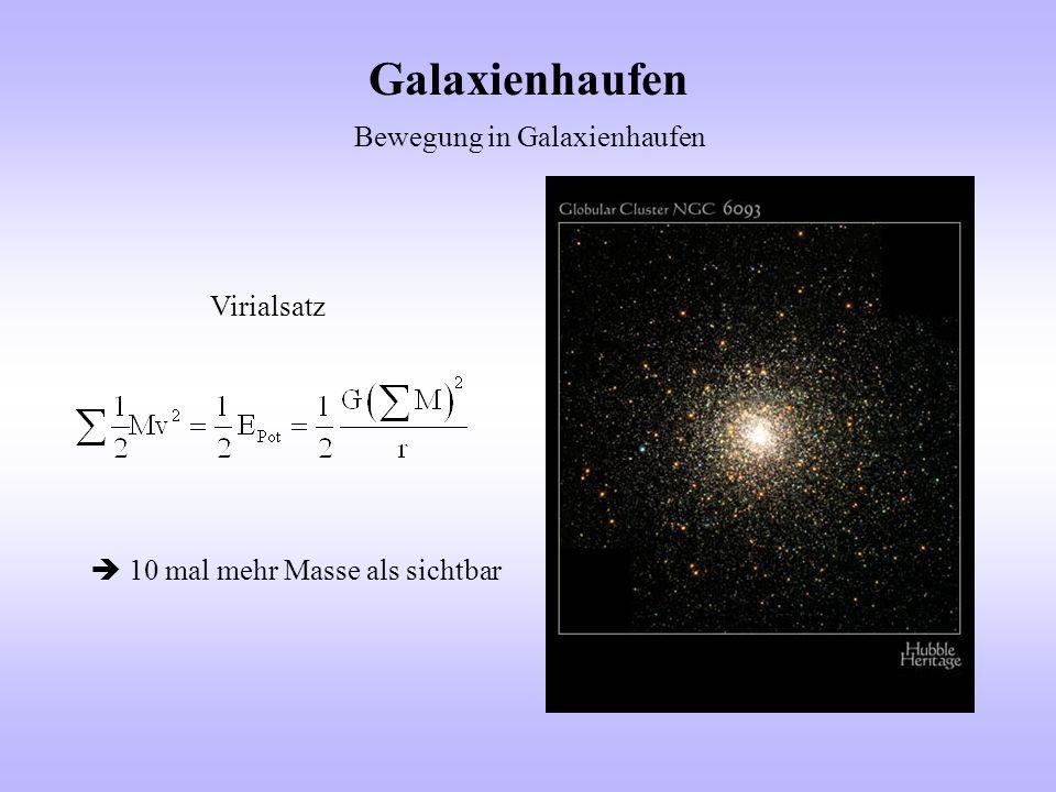 Galaxienhaufen Bewegung in Galaxienhaufen Virialsatz  10 mal mehr Masse als sichtbar