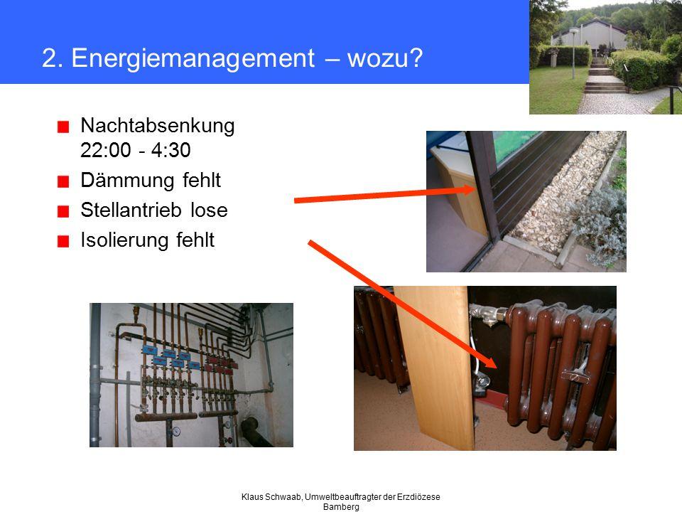 Klaus Schwaab, Umweltbeauftragter der Erzdiözese Bamberg 2. Energiemanagement – wozu? Nachtabsenkung 22:00 - 4:30 Dämmung fehlt Stellantrieb lose Isol