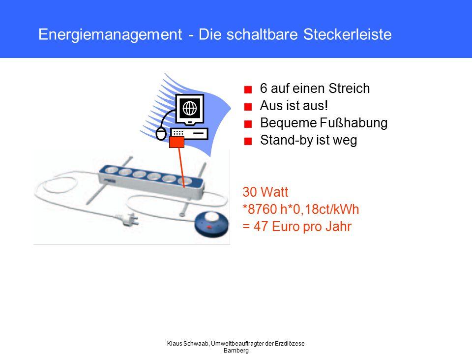 Klaus Schwaab, Umweltbeauftragter der Erzdiözese Bamberg Energiemanagement - Die schaltbare Steckerleiste 6 auf einen Streich Aus ist aus! Bequeme Fuß