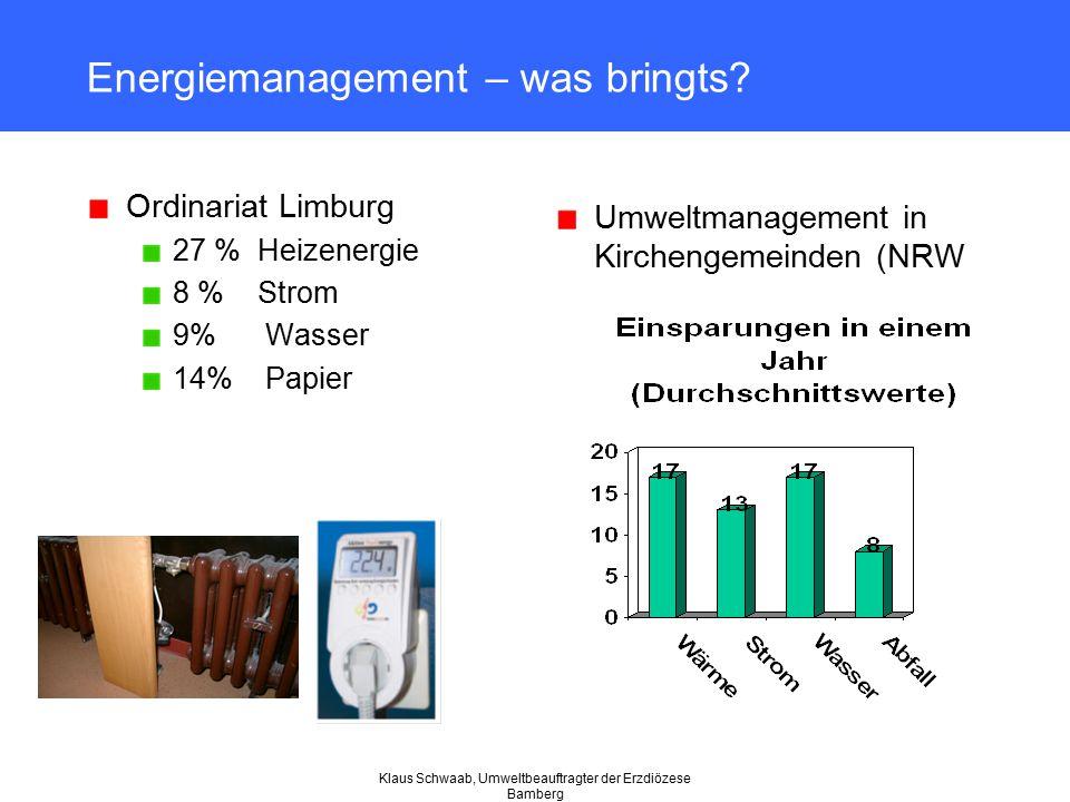 Klaus Schwaab, Umweltbeauftragter der Erzdiözese Bamberg Energiemanagement – was bringts? Ordinariat Limburg 27 % Heizenergie 8 % Strom 9% Wasser 14%