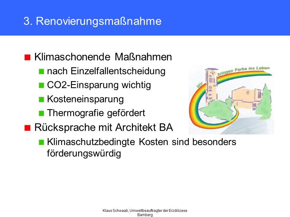 Klaus Schwaab, Umweltbeauftragter der Erzdiözese Bamberg 3. Renovierungsmaßnahme Klimaschonende Maßnahmen nach Einzelfallentscheidung CO2-Einsparung w