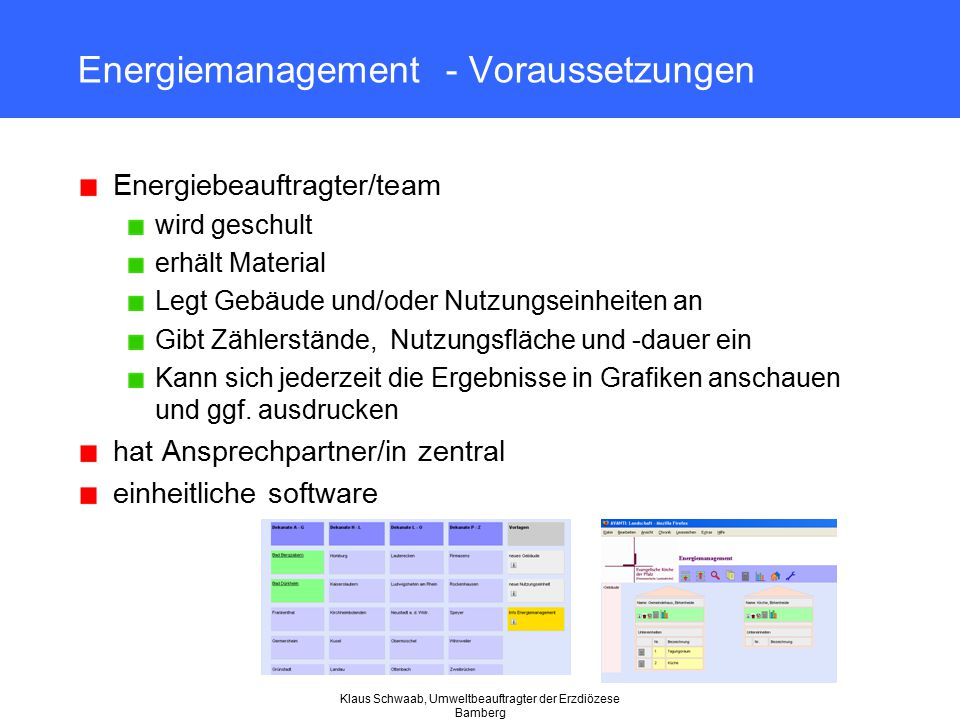Klaus Schwaab, Umweltbeauftragter der Erzdiözese Bamberg Energiemanagement - Voraussetzungen Energiebeauftragter/team wird geschult erhält Material Le