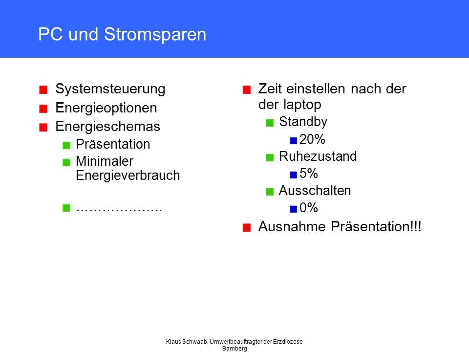 Klaus Schwaab, Umweltbeauftragter der Erzdiözese Bamberg PC und Stromsparen Systemsteuerung Energieoptionen Energieschemas Präsentation Minimaler Ener