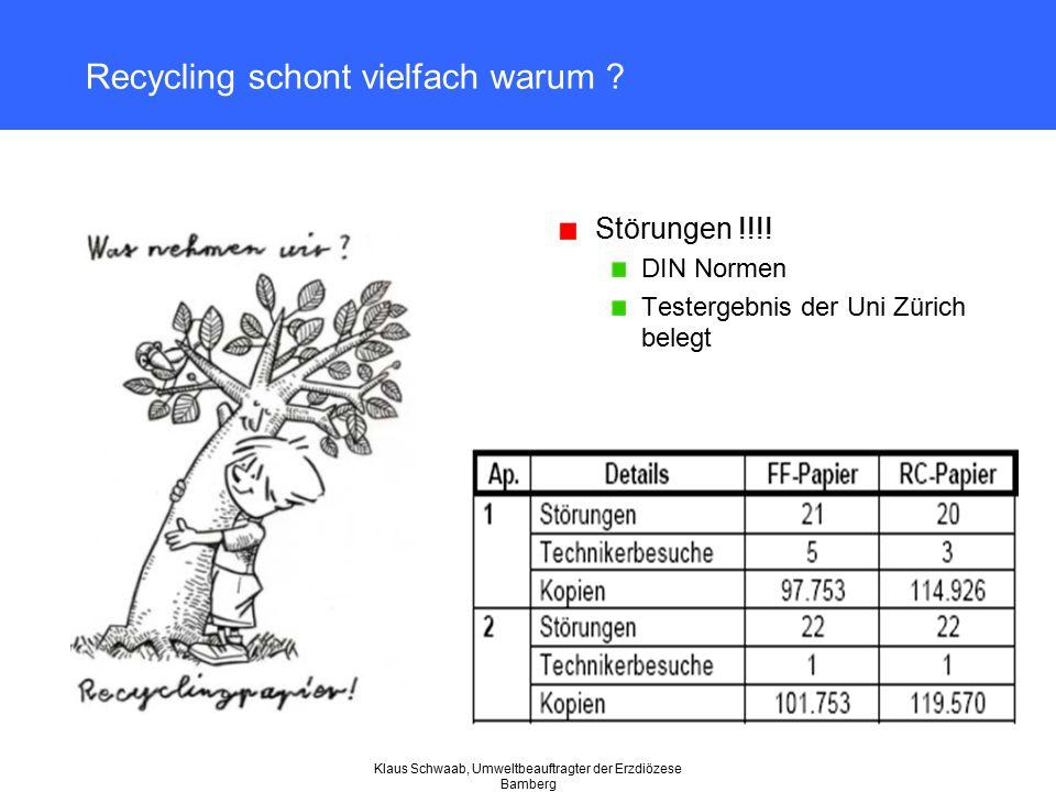 Recycling schont vielfach warum ? Störungen !!!! DIN Normen Testergebnis der Uni Zürich belegt