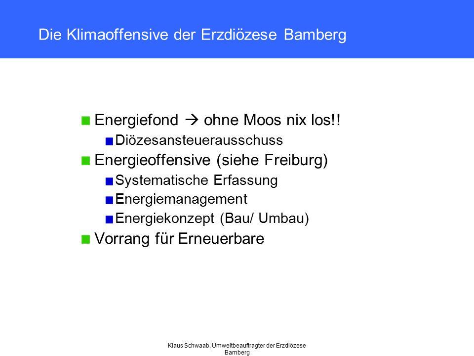 Klaus Schwaab, Umweltbeauftragter der Erzdiözese Bamberg Die Klimaoffensive der Erzdiözese Bamberg Energiefond  ohne Moos nix los!! Diözesansteueraus