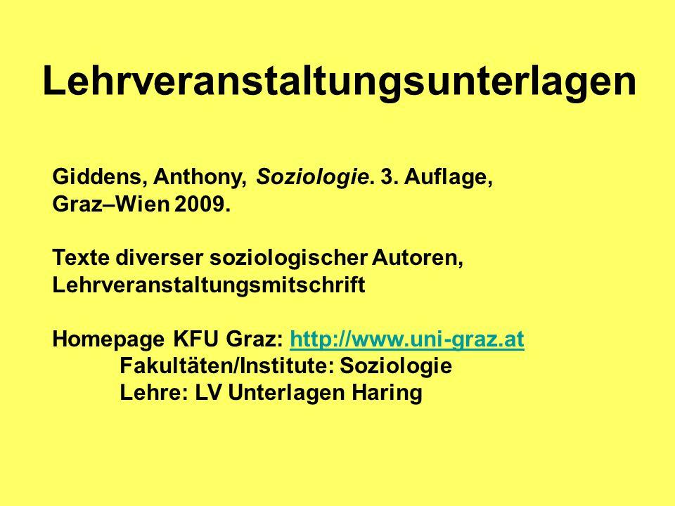 Lehrveranstaltungsunterlagen Giddens, Anthony, Soziologie. 3. Auflage, Graz–Wien 2009. Texte diverser soziologischer Autoren, Lehrveranstaltungsmitsch
