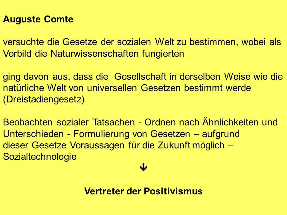 Auguste Comte versuchte die Gesetze der sozialen Welt zu bestimmen, wobei als Vorbild die Naturwissenschaften fungierten ging davon aus, dass die Gese