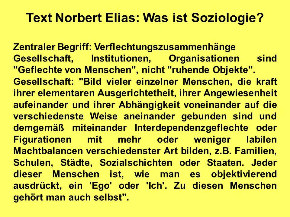 Text Norbert Elias: Was ist Soziologie? Zentraler Begriff: Verflechtungszusammenhänge Gesellschaft, Institutionen, Organisationen sind