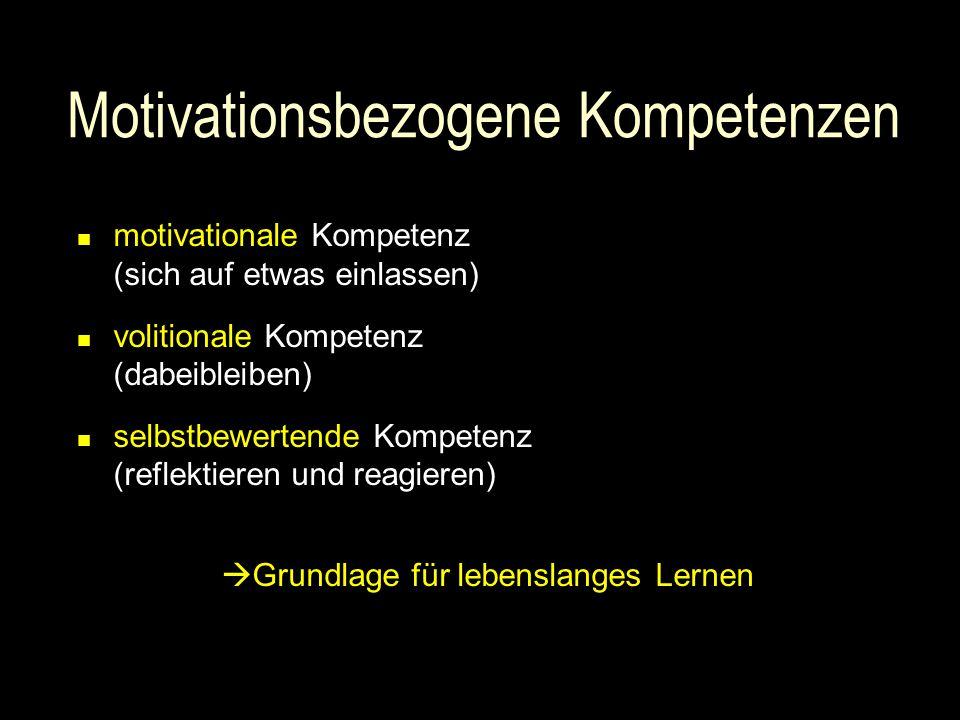 Motivationsbezogene Kompetenzen motivationale Kompetenz (sich auf etwas einlassen) volitionale Kompetenz (dabeibleiben) selbstbewertende Kompetenz (reflektieren und reagieren)  Grundlage für lebenslanges Lernen