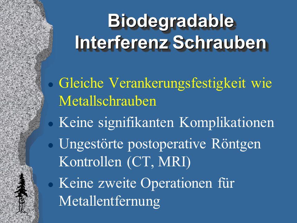 Biodegradable Interferenz Schrauben l Gleiche Verankerungsfestigkeit wie Metallschrauben l Keine signifikanten Komplikationen l Ungestörte postoperati