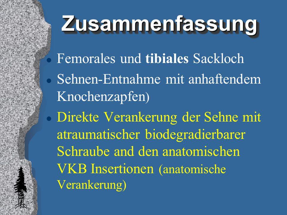 ZusammenfassungZusammenfassung l Femorales und tibiales Sackloch l Sehnen-Entnahme mit anhaftendem Knochenzapfen ) l Direkte Verankerung der Sehne mit