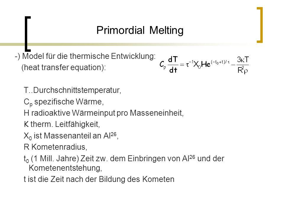 Primordial Melting -) Model für die thermische Entwicklung: (heat transfer equation): T..Durchschnittstemperatur, C p spezifische Wärme, H radioaktive Wärmeinput pro Masseneinheit, K therm.