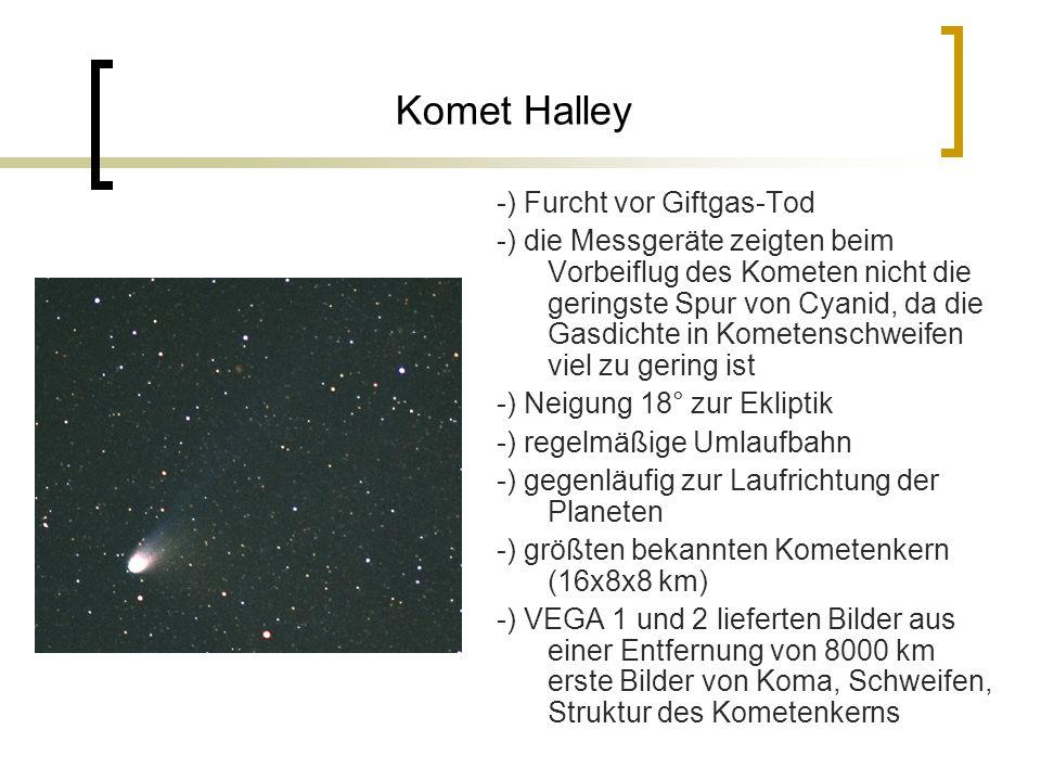 Komet Halley -) Furcht vor Giftgas-Tod -) die Messgeräte zeigten beim Vorbeiflug des Kometen nicht die geringste Spur von Cyanid, da die Gasdichte in Kometenschweifen viel zu gering ist -) Neigung 18° zur Ekliptik -) regelmäßige Umlaufbahn -) gegenläufig zur Laufrichtung der Planeten -) größten bekannten Kometenkern (16x8x8 km) -) VEGA 1 und 2 lieferten Bilder aus einer Entfernung von 8000 km erste Bilder von Koma, Schweifen, Struktur des Kometenkerns